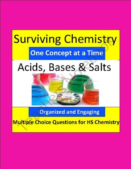 Acids, Bases and Salts - Engaging Multiple Choice Question Sets for HS Chemistry product from E3Chemistry