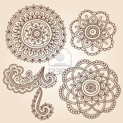 12411858-henna-mehndi-flower-doodles-abstract-floral-paisley-design-elements-vector-illustration.jpg (400×400)