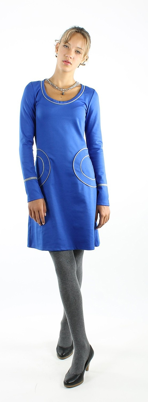 Kobaltblauw jurkje ronde zakken