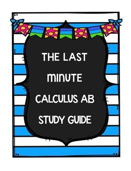This is a set of 20 questions that I give to my students the night before the Calculus AB AP Exam.  We have done practice tests, reviewed all the topics, and now I need ONE LAST THING to give them.This set of questions is designed to give students 20 questions that they can use for last minute review.