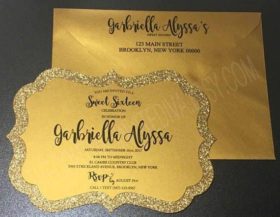 Black & Gold Glitter Invitation | Black and Gold Sweet Sixteen Invitation This Invitation is handmade and created with Metallic Gold and Gold Glitter (non-shedding) Cardstocks LISTING SET INCLUDES: 1 5x7 Metallic Gold & Gold Glitter Invitation w/ black text 1 A7 Metallic Gold