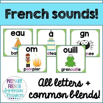 French reading sounds/blends posters - Les affiches des sons de lecture. Help your students to recognize French reading sounds. Clear, simple posters with an image for a visual cue!