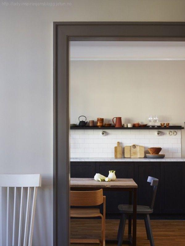 Taupe/grey trim (dark blue kitchen) via Charlotte Minty Interior Design