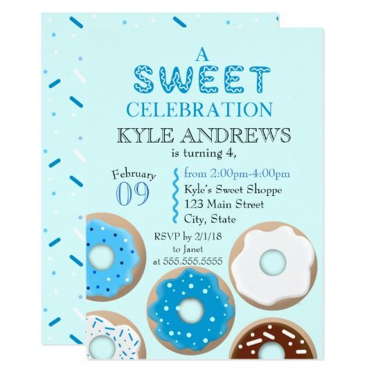 A Sweet Celebration | Boys Birthday Invitation A Sweet Celebration Boys Birthday Invitation is perfect for your little one's upcoming donut themed birthday party. Featuring adorable delicious donuts with sprinkles (or jimmies) this invitation will surly be a hit with your friends and family. #ad