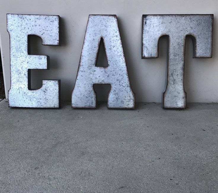 Metal EAT | Zinc Eat Sign | Wall Letters | Rustic Letters|  Industrial Metal Word | Wedding|Kitchen Decor | Metal Letters |Rustic Farmhouse by KaiChicOC on Etsy https://www.etsy.com/listing/265877309/metal-eat-zinc-eat-sign-wall-letters