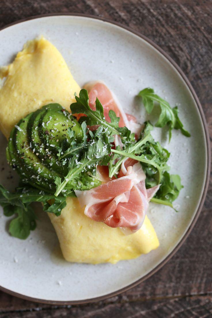 French Omelette with Prosciutto, Cheese Avocado & Arugula