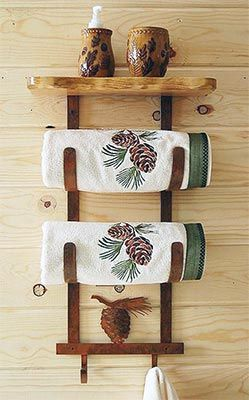 Pine Cone Towel Rack With Shelf In 2019 Pine Cones Pine