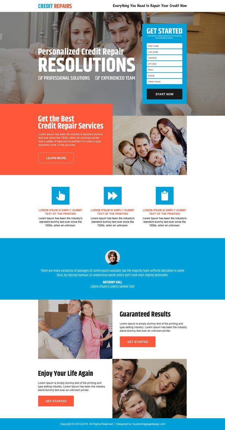 personalized credit repair lead gen landing page design