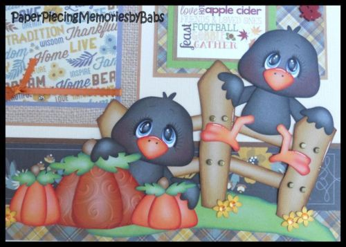 2 Premade 12x12 Paper Pieced Scrapbook Pages Fall Thanksgiving-by Babs