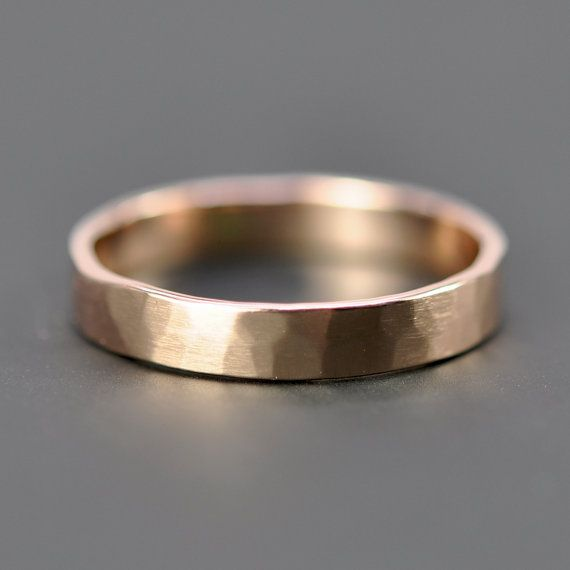 14K Rose Gold Wedding Band, 4mm Faceted Matte Gold Ring, Unisex, Sea Babe Jewelry