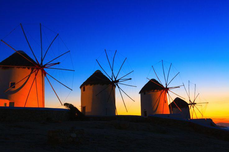 Windmill sunset in Greece