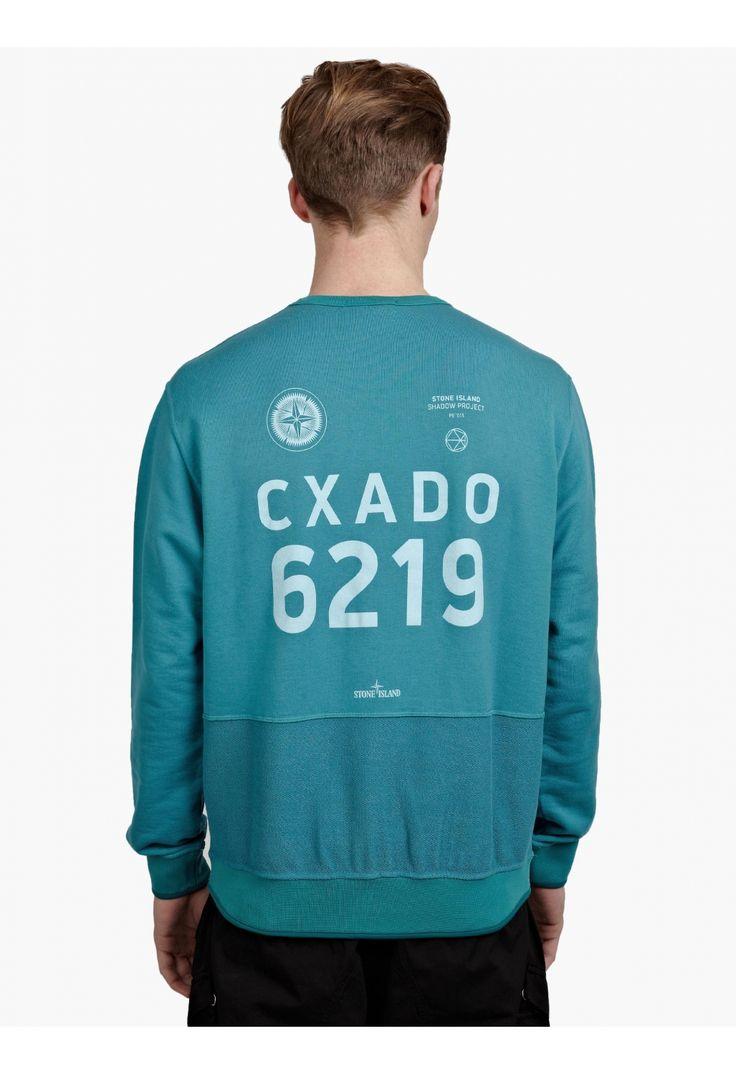 Stone Island Shadow Project Men's Aqua Garment-Dyed Sweatshirt   oki-ni