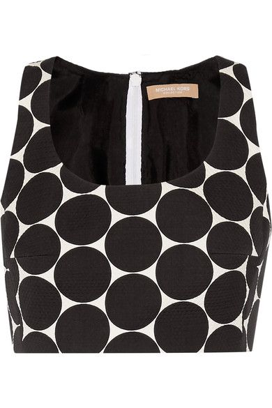 Michael Kors Collection - Cropped Polka-dot Cotton And Silk-blend Matelassé Top - Black - US2