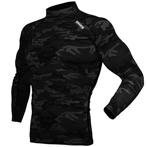 DRSKIN Compression Cool Dry Sports Tights Shirt Baselayer Running Leggings Yoga Rashguard Men (XL, Shirt Black)  92% Polyester, 8% Spandex - Smooth and Ultra-Soft Fabric that provides extreme comfort with very little weight without restriction  Designed for all seasons(training, baseball, basketball, soccer, American football, NFL, Squat, weight training, cycle, yoga, rashguard, skiing, snowboarding, all weather sports)  Non abrasion fabric material with excellent elasticity and durabi...
