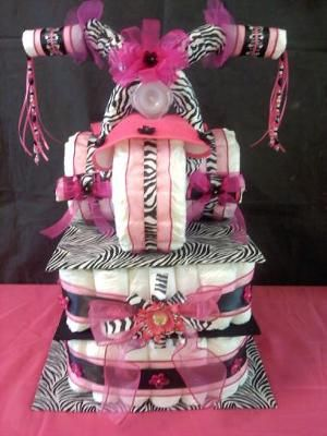 Pink Zebra Tricycle Diaper Cake.