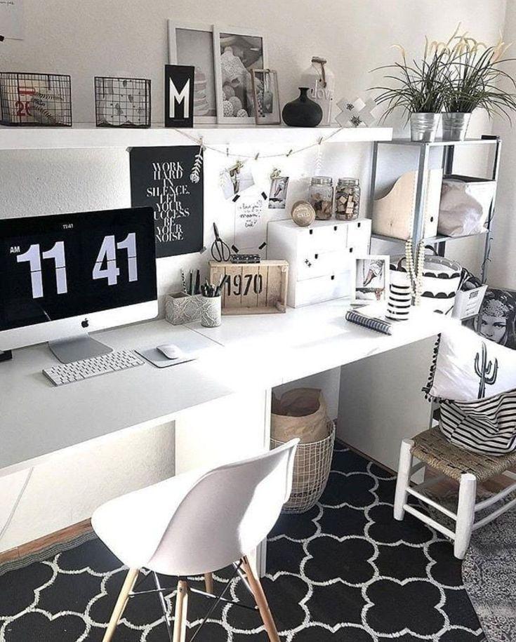Bureau + Déco Tons Blanc/gris