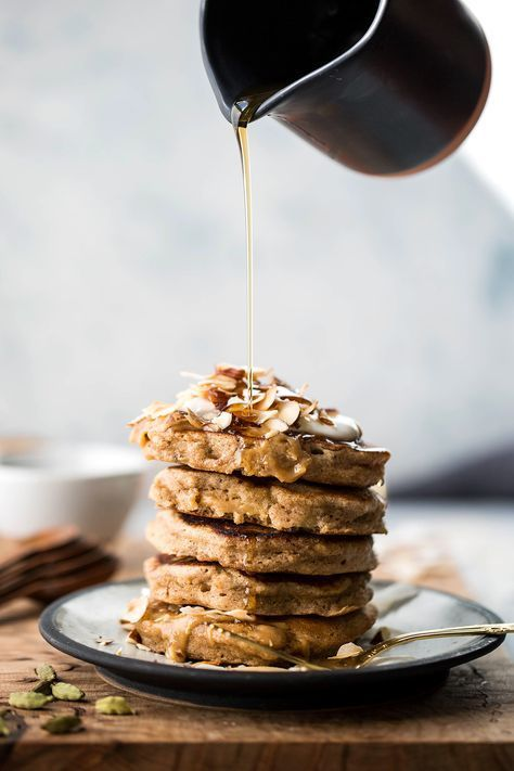 These Healthy Cardamom Banana Bread Pancakes are SO addictive! We've been making them for breakfast on Saturday and everyone loves how simple and delicious they are! Can't recommend this recipe enough.