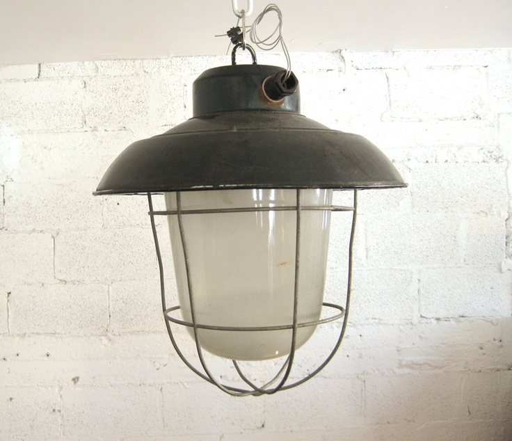 Old vintage 1940 39 s industrial enamel cage ceiling lamp for Long ceiling light fixture