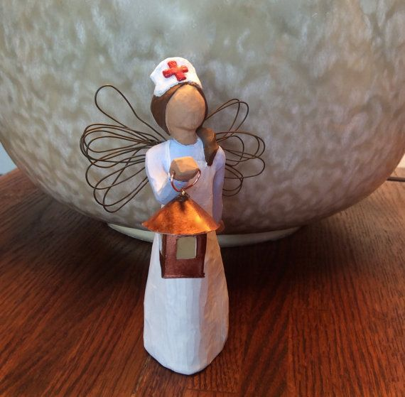 Nurse RN Gift -  Florence Nightingale w. Lantern and Silver Glitter Caduceus - Nurse Graduation - RN Birthday Present