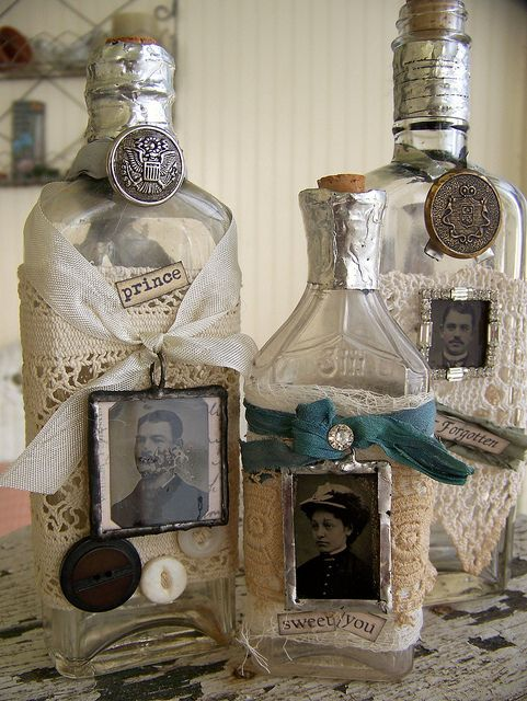 Grouping of Altered Apothecary Bottles by QueenBe1: Apothecaries Bottle, Altered Apothecaries, Diy Crafts, Apothecary Bottles, Art Bottle, Antiques Lace, Altered Bottles, Altered Art, Bottle Art