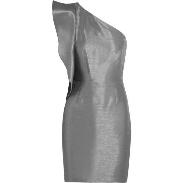 Halston Heritage Asymmetric metallic slub-sateen mini dress ($195) ❤ liked on Polyvore featuring dresses, gunmetal, petite dresses, slim fit dress, frill dress, metallic mini dress and mini dress