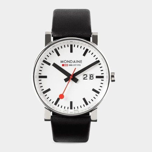 Swiss Railway Watch  In the 1940s, Swiss engineer and designer Hans Hilfiker created the famous Swiss Railway Clock with its highly visible, red second hand. Today the wristwatch, with the same characteristic bold, clean features as the clock, is a classic.   Own It