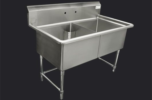 """Double 24"""" Stainless Steel sink without drainboard. Model: TDS-2424-O. Also available in 18"""" model."""