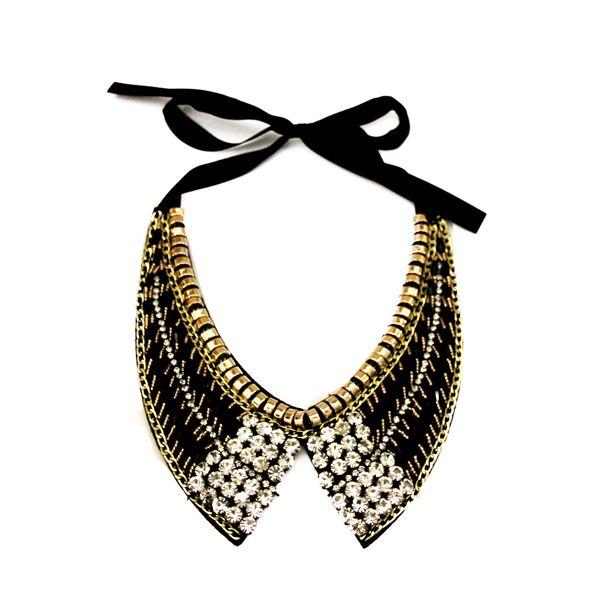 BLACK/GOLD #CRYSTAL BEADED COLLAR #NECKLACE JKN217BKGO #jacquelinekent #ksajewelry #jacquelinekentjewelry