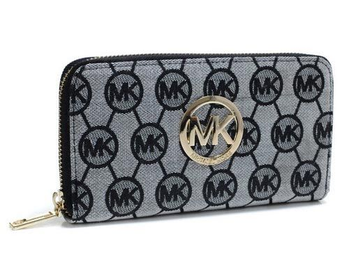 ♥ Only $47.99, Cheap Michael Kors Grey Monogram Jacquard Wallet Sale Online, You Can Get It At www.mkbagspro.com.
