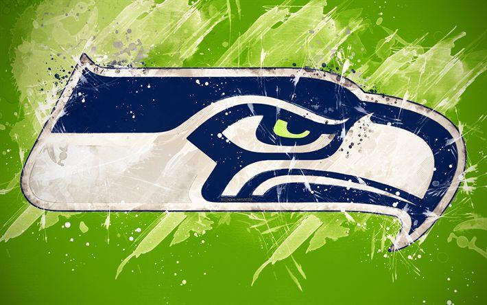 Download Wallpapers Seattle Seahawks 4k Logo Grunge Art American Football Team Emblem Green Background Paint Art Nfl Seattle Washington Usa National Football League Creative Art Besthqwallpapers Wallpapers Designs