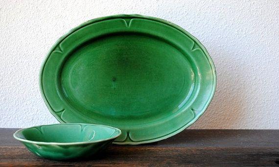 Antique China Dish Set, Mount Clemens Green Petal Ware Platter Plate & Dessert Fruit Bowl, 1930s Vintage Dinnerware / via Etsy