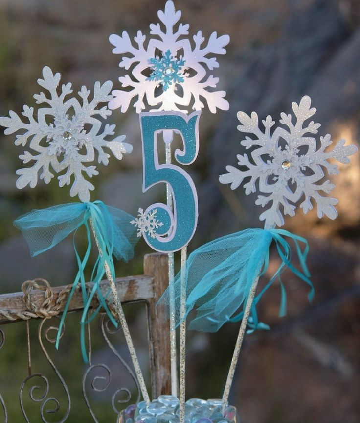 Snowflake Centerpiece for Frozen Party / Frozen Birthday Table Decoration by PocketFullofGlitter on Etsy