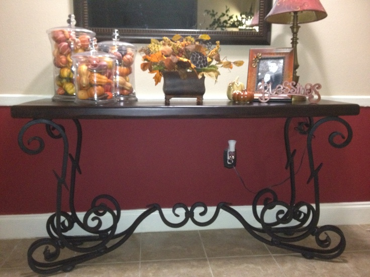 Pier 1 Quentin Console Table decorated for fall with our Faux Fall Sunflowers & Artichokes Arrangement