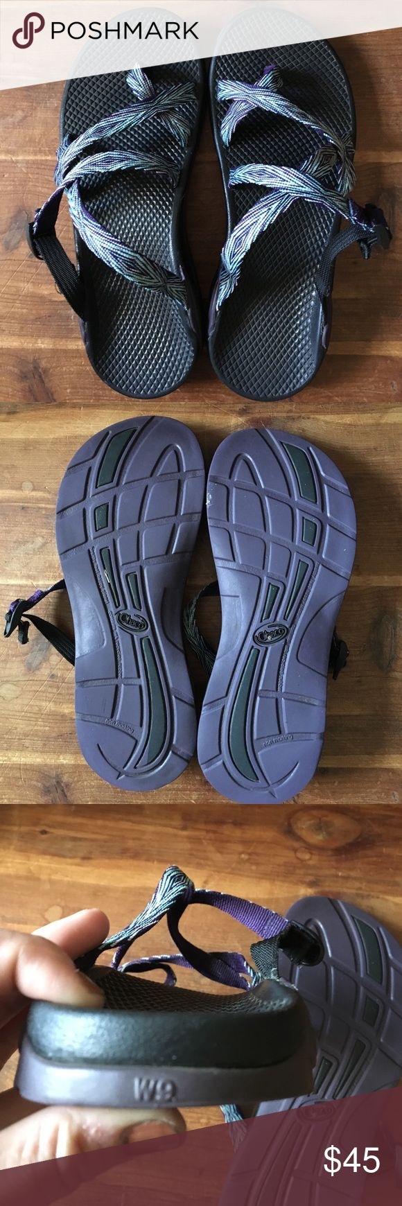 Women's Chacos sandals. Size 9 Women's Chaco sandals. Size 9. Slip ons with no back. Black footbed with purple sole. Worn only a handful of times. Chacos Shoes Sandals