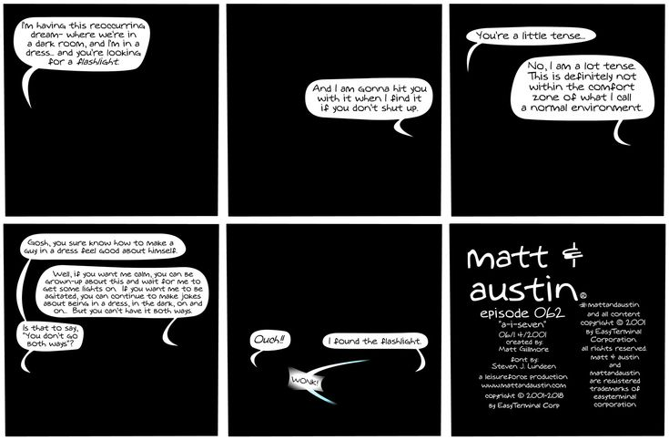 """Find out what's happening with Matt's experiment with artificial intelligence by reading 062 - A.I. 7, the newly remastered edition of """"Matt and Austin!"""" http://comicandmoviecollectibles.com/comic-strip-matt-and-austin-62-a-i-7/ #comics #webcomic #MattAndAustin #ComicStrip #ThrowbackThursday #TBT #ArtificialIntelligence"""