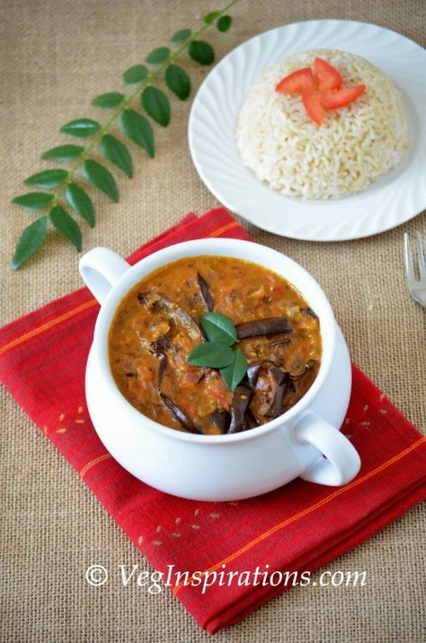 oven roasted eggplant in coconut milk curry gravy - vegan