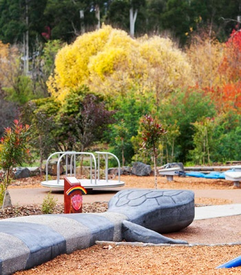 Marysville park rejuvenation. Australia. The Playspace is on the site of the town's Kindergarten and Maternal & Child Health Centre, which was also destroyed by bushfires in 2009.