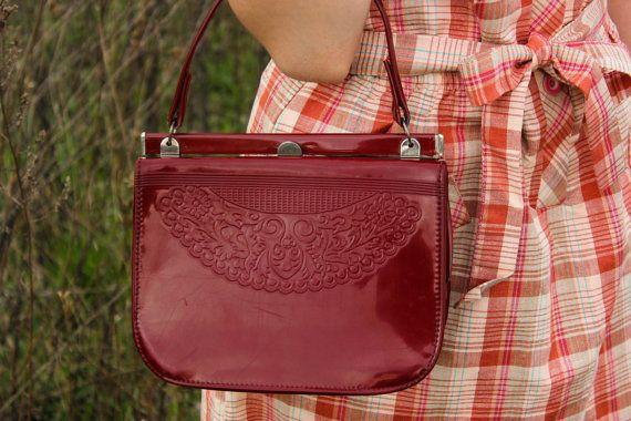 Soviet Oxblood Patent Purse / 1970's - 80's USSR Vintage Ladies Frame Handbag, Snap Closure / MOD Vegan PVC Vinyl Dark Cherry Shoulder Bag