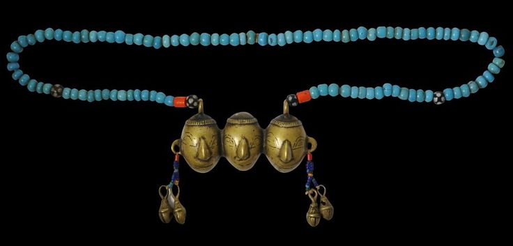 Fine Glass Bead Necklace with Brass Trophy Heads  Naga People, Burma/India  late 19th century