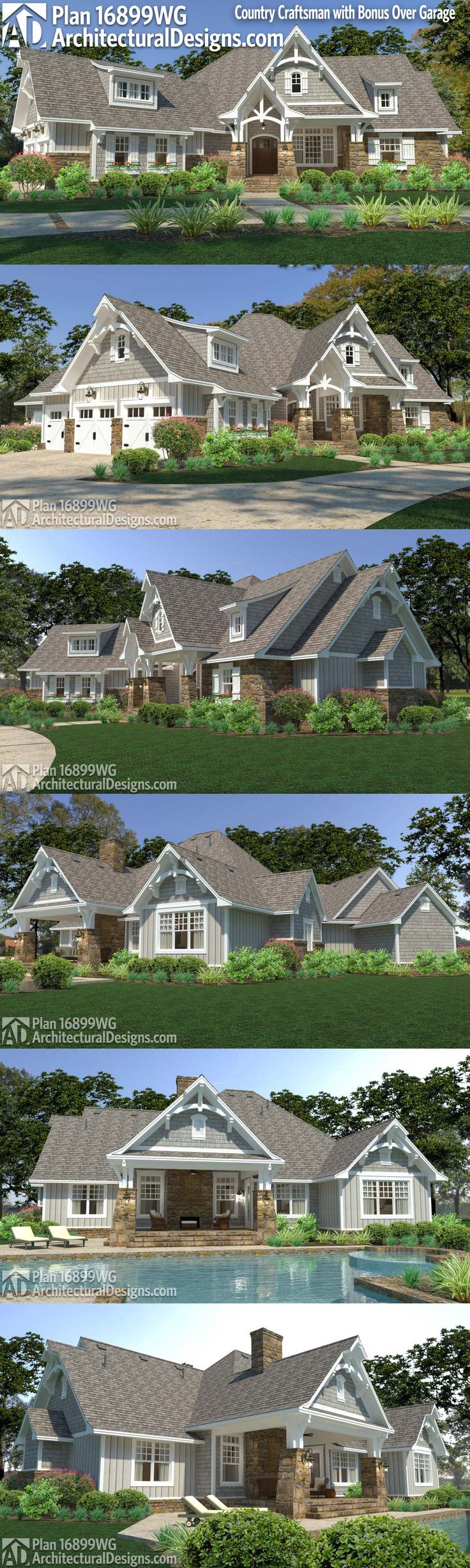 Introducing Architectural Designs Country Craftsman 16899WG! This exciting craftsman has elements of farmhouse design for some country charm. This plan gives you 3 beds and 3 baths in just over 3,000 sq ft heated living +650 sq ft bonus! Ready when you are. Where do YOU want to build? #16899WG #housedesign  #Home  #homedesign #architecture  #architectureDesign  #adhouseplans  #architecturaldesigns  #dreamhome  #newhome  #newconstruction  #houseplans