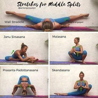 """183 Likes, 3 Comments - Yoga World (@yoga.worldz) on Instagram: """"Posted by @actionjacquelyn Stretches for the Middle Splits! ♀️ and inner thighs ✨ Hold each pose…"""""""