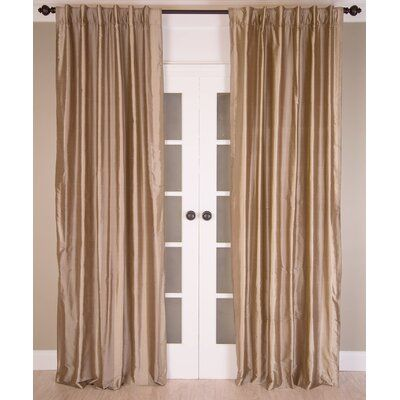Latitude Run Ellent Silk Dupioni Lined Solid Room Darkening Rod Pocket Single Curtain Panel Size per Panel: 51″ W x 84″ L, Curtain Color: Mushroom Str