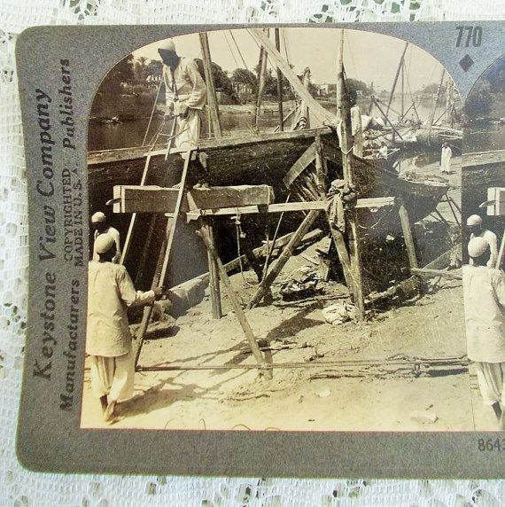 Egypt Stereoview Card Keystone 8643 Boat by DaysofYoreTreasures