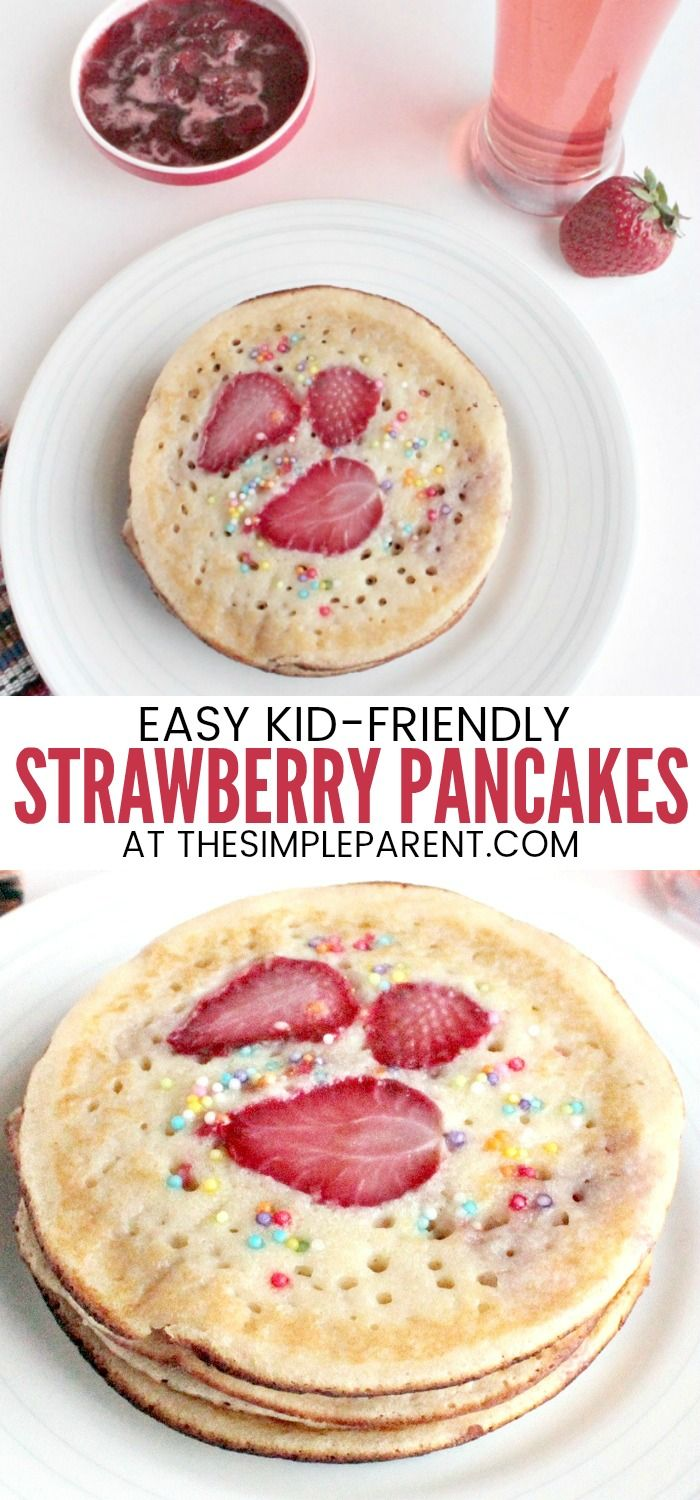 Strawberry Pancake Recipe - This easy recipe can be made with mix if you need it to be quick. It's fun for kids and can also be whipped up with a variety of different berries and even banana! If you want a great sit down breakfast with your family, make these pancakes and our tasty Strawberry syrup recipe! #breakfast #pancakes