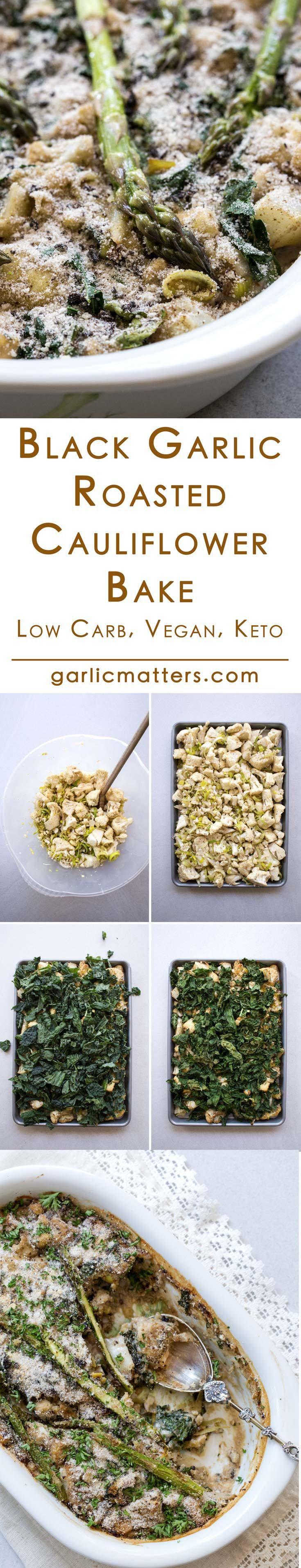 Black garlic roasted cauliflower bake