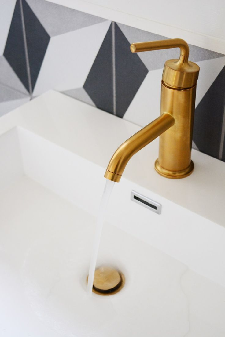 Guesthouse Bathroom Reveal - modern patterns and vintage details. @allmodern