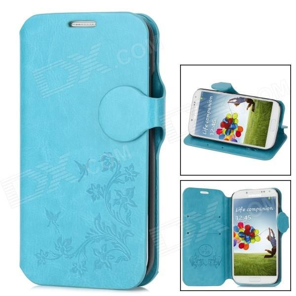 Protective PU Leather Cover Plastic Hard Back Case for Samsung Galaxy S4 i9500 - Sky Blue + Black