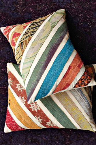 Cheap Home Decor - West Elm Kantha Diagonal Stripe PIllow Covers $24.  Bet I can do this with brown cotton and ribbon/scraps for cheaper ...