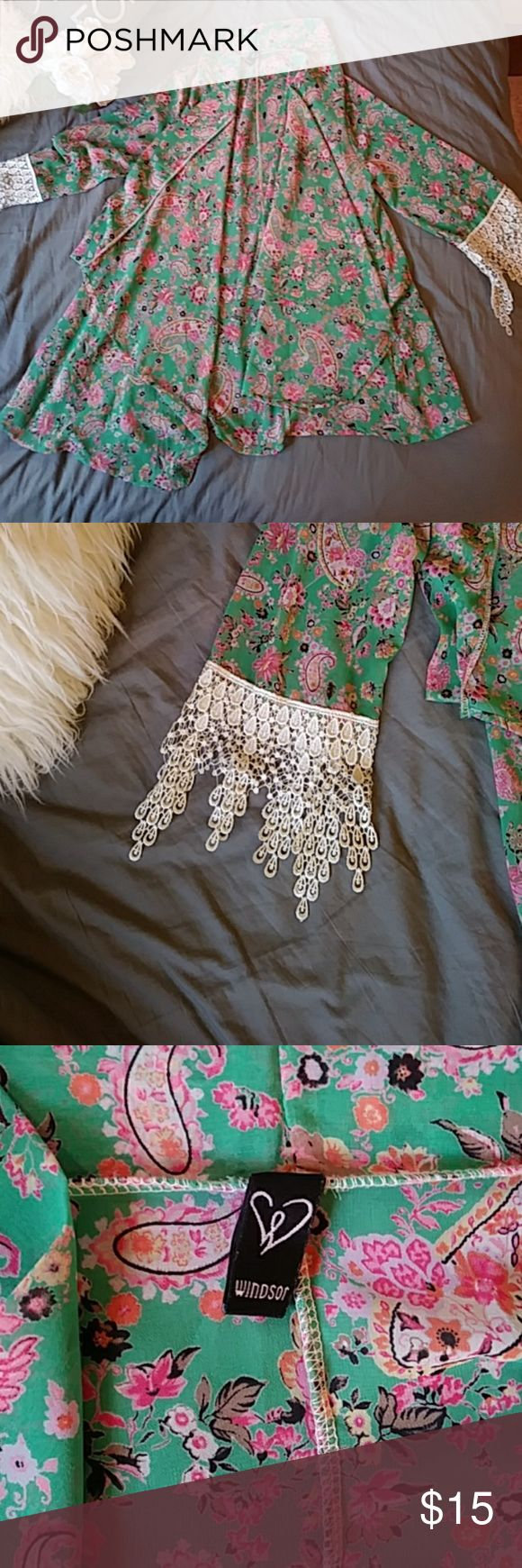 Kimono type cover Light grean with pink flowers and paisley print Tops Blouses