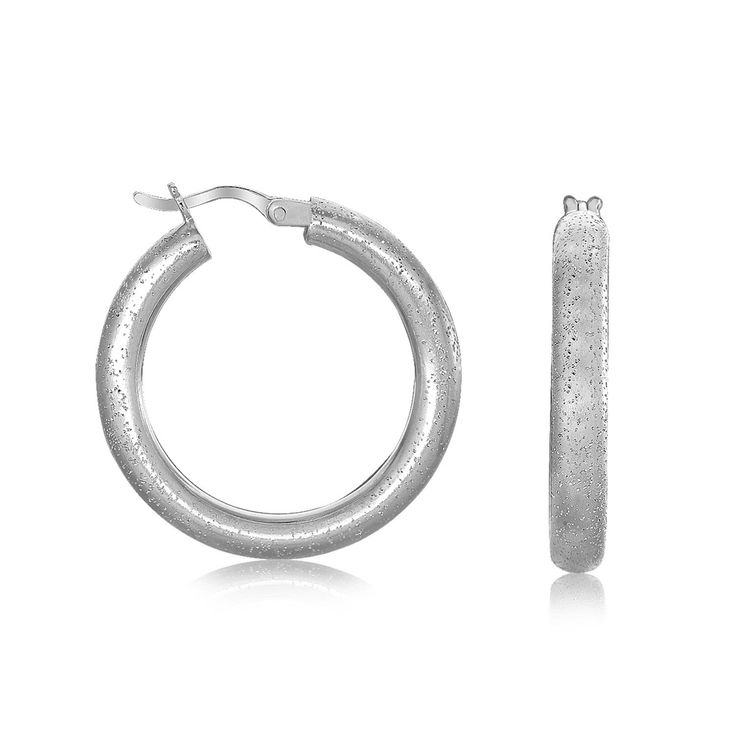 Sterling Silver Rhodium Plated Stardust Textured Hoop Earrings